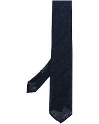 Corbata de seda de rayas horizontales azul marino de Lardini