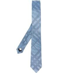 Corbata de seda de rayas horizontales celeste de Burberry