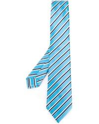 Corbata de seda de rayas horizontales celeste de Kiton