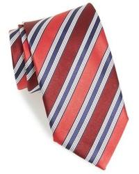 Corbata de seda de rayas horizontales roja