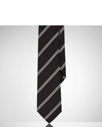 Corbata de Seda de Rayas Verticales Negra y Blanca