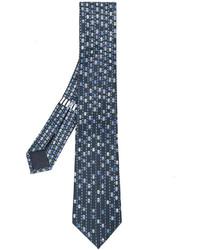 Corbata de seda estampada azul marino de Bulgari