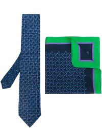 Corbata de seda estampada azul marino de Etro