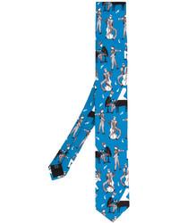 Corbata de seda estampada azul de Dolce & Gabbana