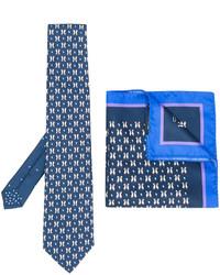 Corbata de seda estampada azul de Etro