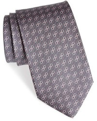 Corbata de seda estampada burdeos