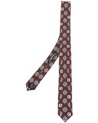 Corbata de seda estampada burdeos de Dolce & Gabbana