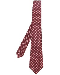 Corbata de seda estampada burdeos de Kiton