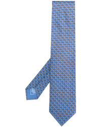 Corbata de seda estampada celeste de Brioni