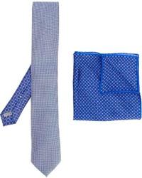 Corbata de seda estampada celeste de Canali