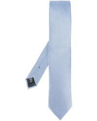 Corbata de seda estampada celeste de Ermenegildo Zegna