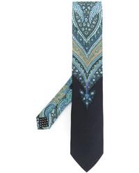Corbata de seda estampada celeste de Etro