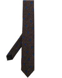 Corbata de seda estampada en marrón oscuro de Lardini