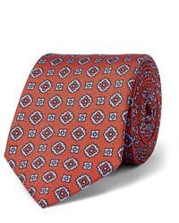Corbata de Seda Estampada en Tabaco