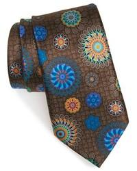 Corbata de seda estampada marrón