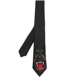 Corbata de seda estampada negra de Givenchy