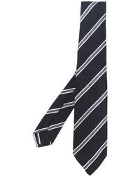 Corbata de Seda Estampada Negra de Kiton