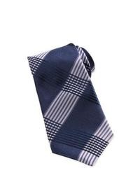 Corbata de tartán en azul marino y blanco