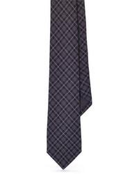 Corbata de tartán en gris oscuro