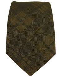 Corbata de tartán en marrón oscuro