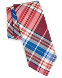 Corbata de tartán en rojo y azul marino