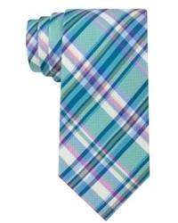 Corbata de tartán en verde azulado