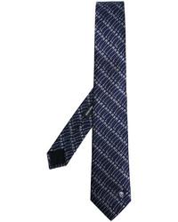 Corbata estampada azul marino de Alexander McQueen