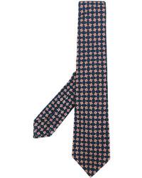 Corbata estampada azul marino de Kiton
