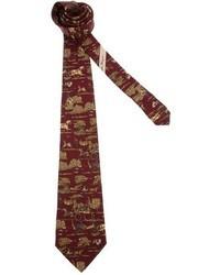 Corbata estampada burdeos de Salvatore Ferragamo