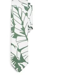 Corbata estampada en blanco y verde