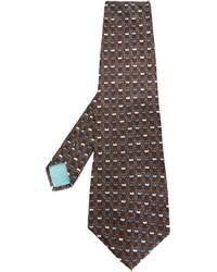 Corbata estampada en marrón oscuro