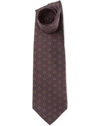 Corbata estampada en marrón oscuro de Hermes