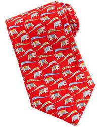 Corbata estampada roja