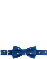 Corbatín de seda con print de flores azul de fe-fe