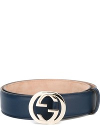 Correa de Cuero Azul Marino de Gucci