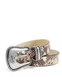 Correa de cuero con print de serpiente gris