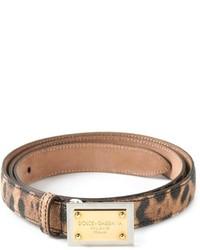 Correa de Cuero de Leopardo Marrón de Dolce & Gabbana