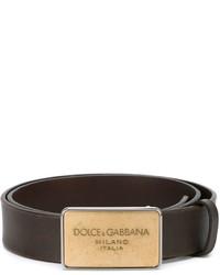 Correa de cuero en marrón oscuro de Dolce & Gabbana