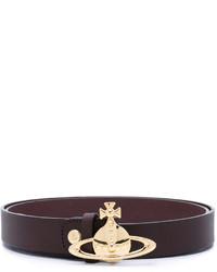 Correa de cuero en marrón oscuro de Vivienne Westwood