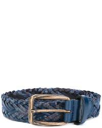 Correa de cuero tejida azul marino de Etro