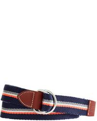 Correa de lona de rayas horizontales en blanco y rojo y azul marino