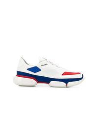 Deportivas en blanco y rojo y azul marino de Prada