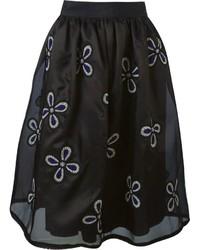 Falda campana bordada negra