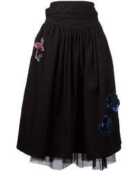 Falda campana bordada negra de Marc Jacobs