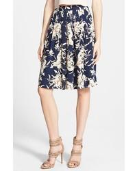 Falda campana con print de flores azul marino