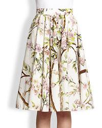 Falda campana con print de flores blanca