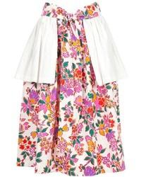 Falda campana con print de flores en blanco y rosa