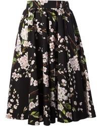 Falda campana con print de flores en negro y blanco de Dolce & Gabbana