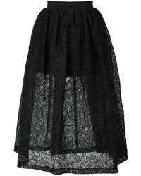 Falda campana con print de flores negra de Vera Wang