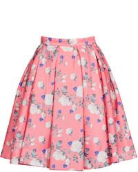 Falda campana con print de flores rosada